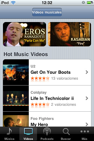Videos musicales por ti.