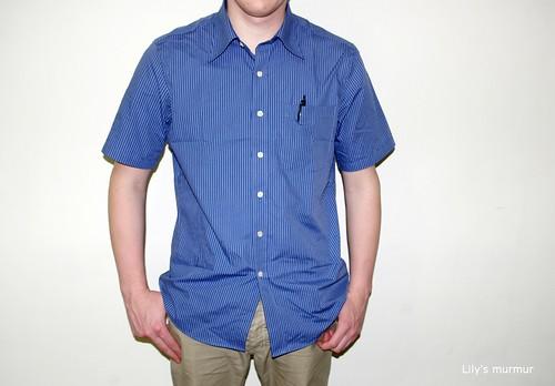 MKL示範「率性條紋襯衫」(藍條)正面照