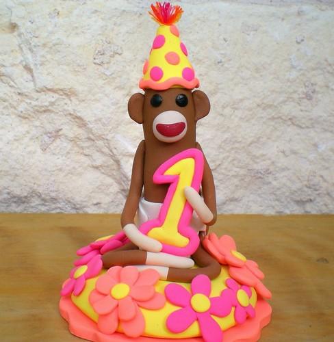 Sock Monkey Birthday Cake Topper by SpiritMama.