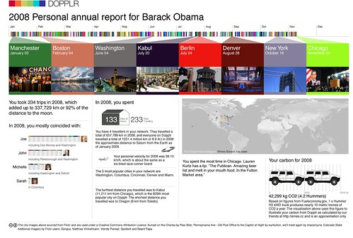 Dopplr Visualisation of Obamas travles