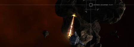 The ships mining laser blasts chunks of Vespar off the asteroid.