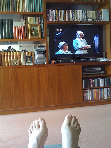 Watching the telly and enjoying a nice rest with my feet up