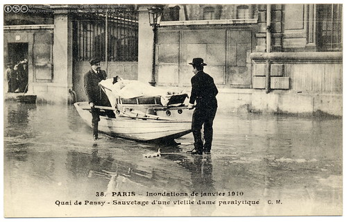 Paris Under the Waters: A Rescue (1910) by postaletrice.