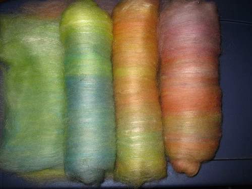 Dyed BFL top carded with tussah silk
