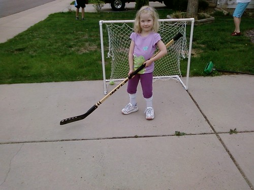 I finished the day playing driveway hockey with Jessica.  She thrashed me 10-2.