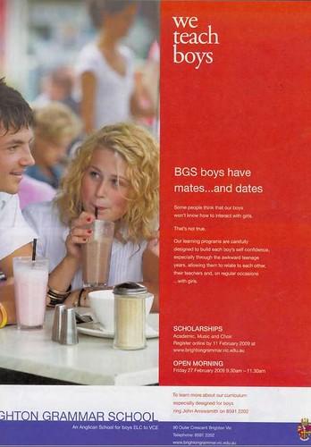 brighton grammar ad BGS boys have mates...and dates