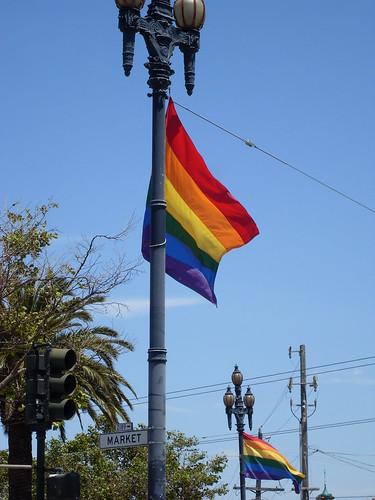 Rainbow Flags on Market Street San Francisco
