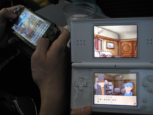 My boyfriend was playing Space Invaders Extreme and I was playing Professor Layton 2: Pandoras box in Japanese