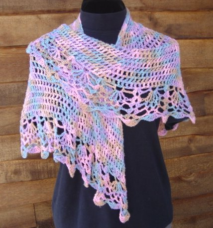 Crocheted All Shawl worked in Rayon multi-colored yarn