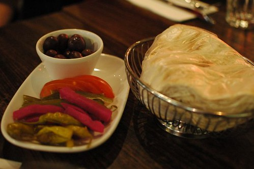 Olives, pickles and Lebanese bread