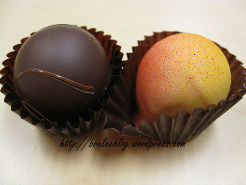 Caramel fleur de sel and passion fruit truffles