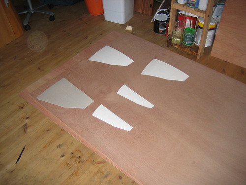 The templates finished and laid out on the 9mm marine ply.