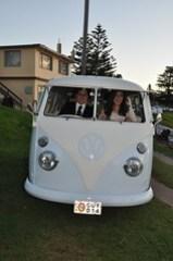 The bride & groom in the Kombi/VW bus.