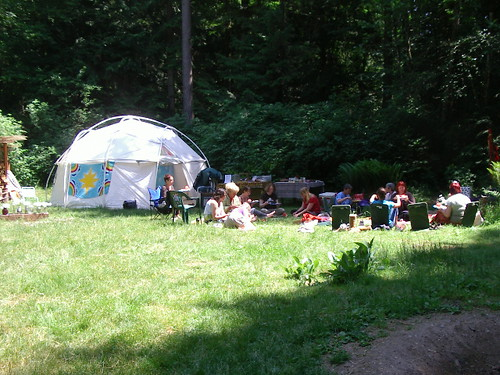 gathering in meadow