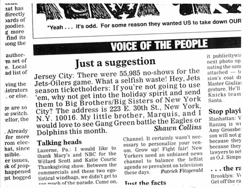New York Daily News Letter to the Editor, Dec 1996