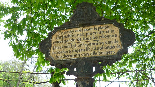 Sign in Parc Royal, Brussels