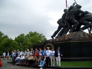 Honor Flight Guardian at the USMC (Iwo Jima) Memorial
