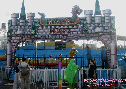 This Dragon Wagon Kiddie Coaster in Coney Island was purchased by Butler Amusements last year from Michael Jacksons Neverland Ranch. Photo © Tricia Vita/me-myself-i via flickr