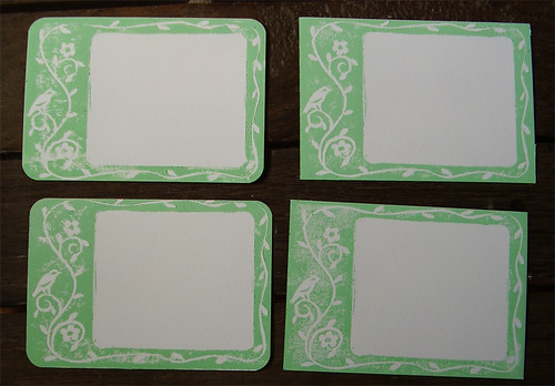 Green bird notecards