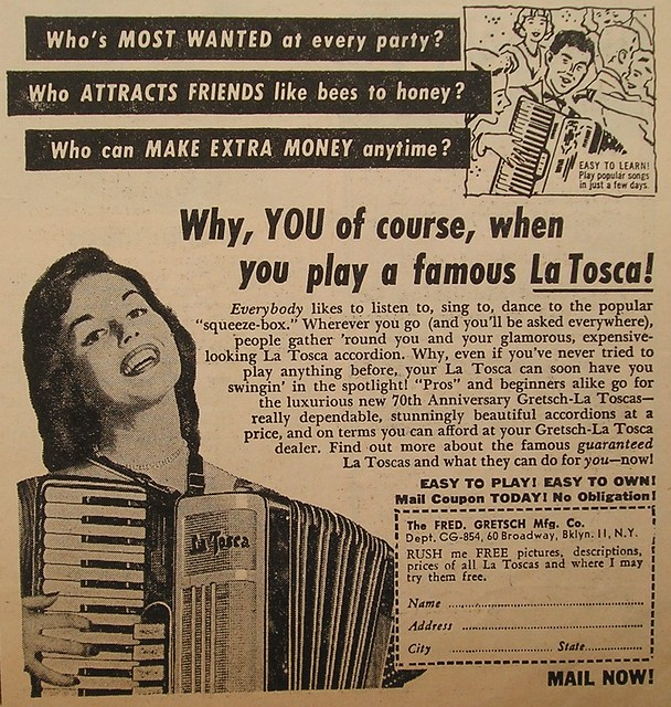 La Tosca accordion advertisement, happy woman from the late 50's?