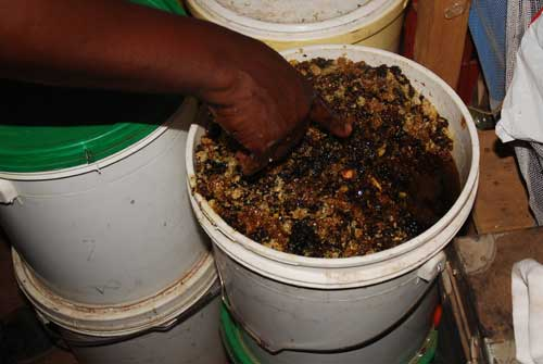 Bucket of raw honey