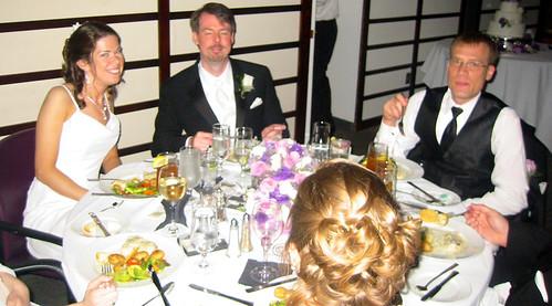 20090530 - Brent & Kim's wedding - 178-7828 - Kim, Brent, Mark - bridal table, eating
