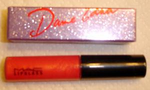 MAC Lipglass in Red Devil, Dame Edna lipstick in Coral Polyps