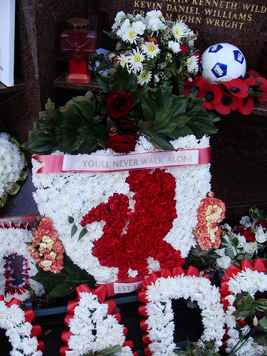 Liverpool crest in flowers at the Hillsborough...