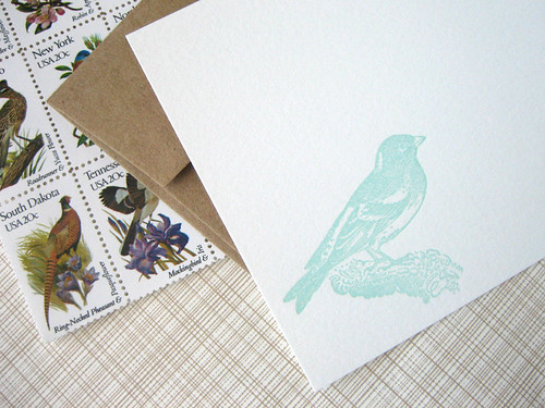 Songbird letterpress stationery by Missive by Missive Press.