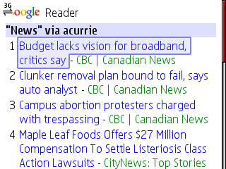 Google Reader Mobile - Tag Feed