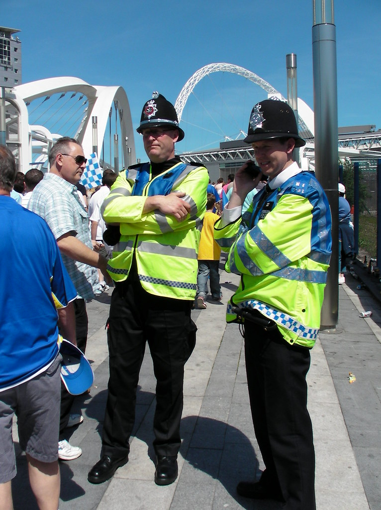 Wembley-Blackpool v Cardiff-Pre-match policing