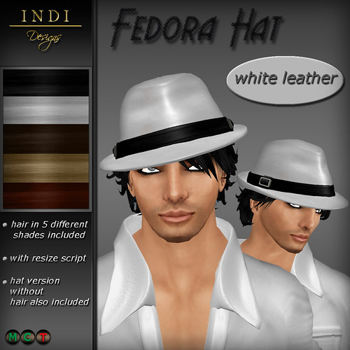 Fedora Hat white leather