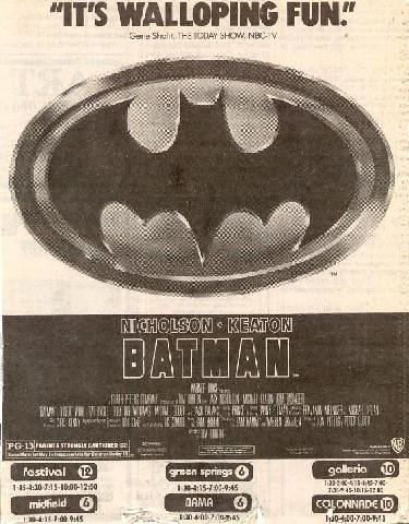 Batman movie newspaper ad