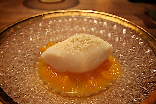 Lychee/Sake sorbet over yuzu tangerine gelée with sancho peppers, sprinkled on top with honey sugar by bloompy