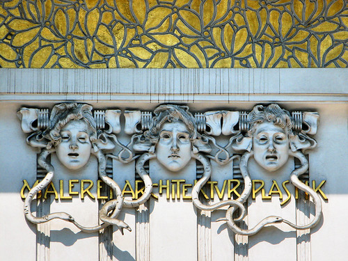 Decorations above the door of the Secession building by you.
