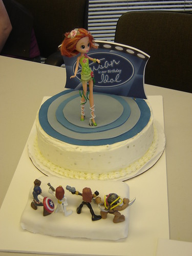 Since Susan is a big fan of American Idol (dare I say obsessed?) and she recently joined a band as their lead singer, it was a no brainer when it came to deciding the theme of her birthday sign and cake.