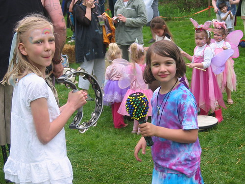 Ellie and Lily with a wee Fae drum circle behind them