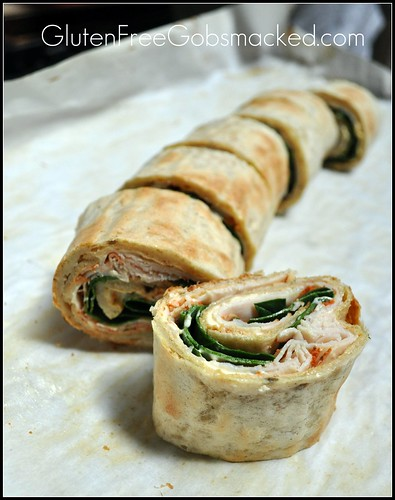 Turkey & Spinach Lavash Sandwich:  Gluten Free, of course!