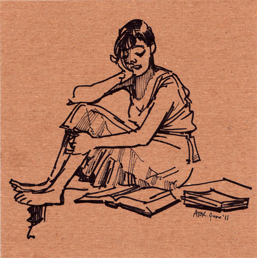 r8r, Figure 1048. Life drawing on found cardboard. Model Reading Bible, 3 of 4, 11. Juni 2011