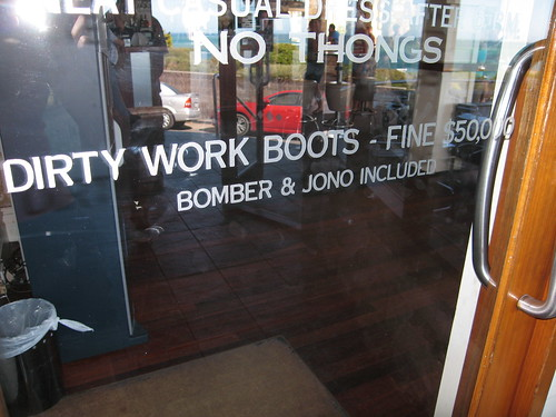 Obviously Jono and Bomber wore their dirty work boots in the hotel once too often