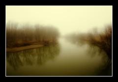 Foggy Mackinaw from Benson Bridge