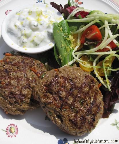 Grilled Lamb Burgers w/ Cucumber Mint Raita