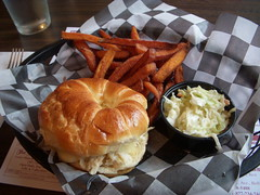 Crab Croissant and Sweet Potato Fries