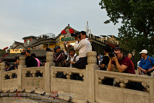 Zac and a group of photographers shooting the sunset at Hou Hai in Beijing, China