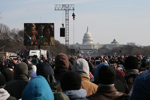 Image of Barack Obamas Inauguration From The Crowd On The Mall by Johno525
