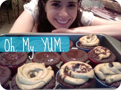 Peanut butter and chocolate vegan cupcakes.