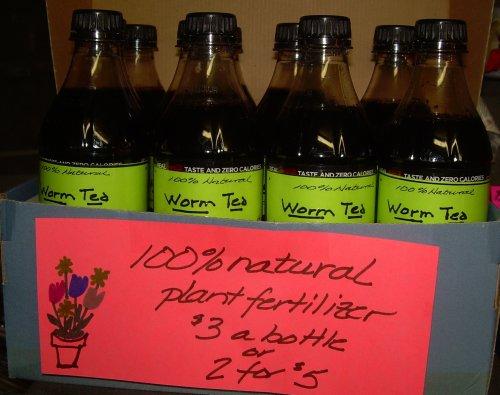 Bottles of worm tea