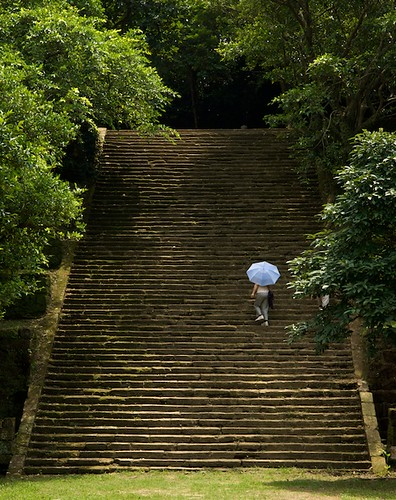 The main staircase accessing the military camp site at Ershawan Fort (二砂灣砲台) Keelung, Taiwan (台灣基隆市).