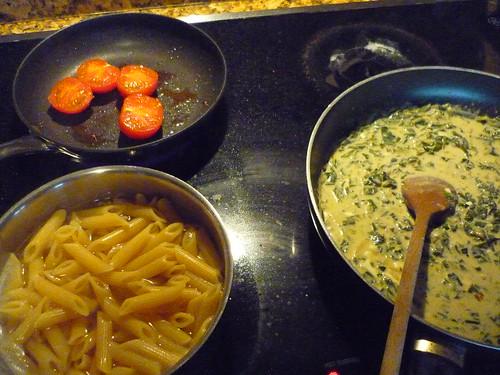 Preparing the pasta sauce