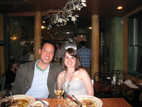 Dining at Harvest Moon.  The chef is right there in the background!